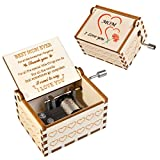 CaseTank Wooden Music Box,Gifts for Mom Women from Daughter or Son,Vintage,Carved Cards,Laser Engraved,Hand Crank Mechanism Music Box, Presents for Mother's Day/Thanksgiving/Christmas/Valentine's Day