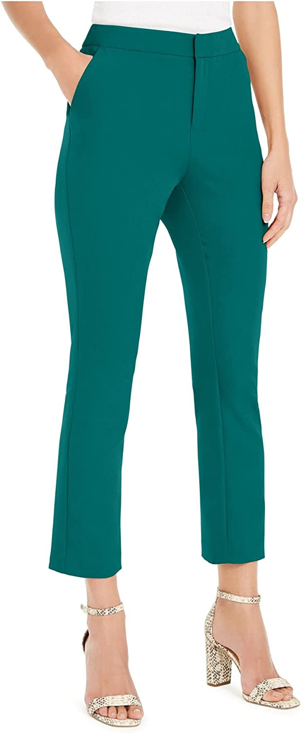 I.N.C. International Concepts INC Womens Green Zippered Ankle Straight Leg Wear to Work Pants Size 16