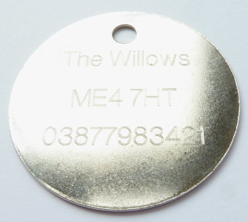 Engraved 32mm Round NICKEL Pet Cat Dog Pony Luggage ID Identity Tag Disc - Personalised FREE ENGRAVING, Ring and POSTAGE - IN STOCK and Supplied by M&K Supplies