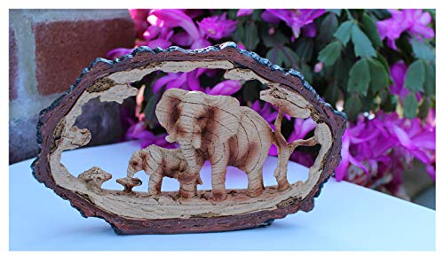 Eye Catching Free Standing Stately Elephant with Calf Decorative Ornament