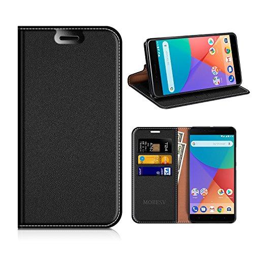 MOBESV Xiaomi Mi A1 Hülle Leder, Xiaomi Mi A1 Tasche Lederhülle/Wallet Hülle/Ledertasche Handyhülle/Schutzhülle mit Kartenfach für Xiaomi Mi A1 - Schwarz