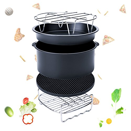 Espeedy 5-Set Air Fryer Zubehör für Gowise Phillips Cozyna Fit 3.7-5.8QT Kuchen Barrel Pan Rack Mat Kit (7 Inch)