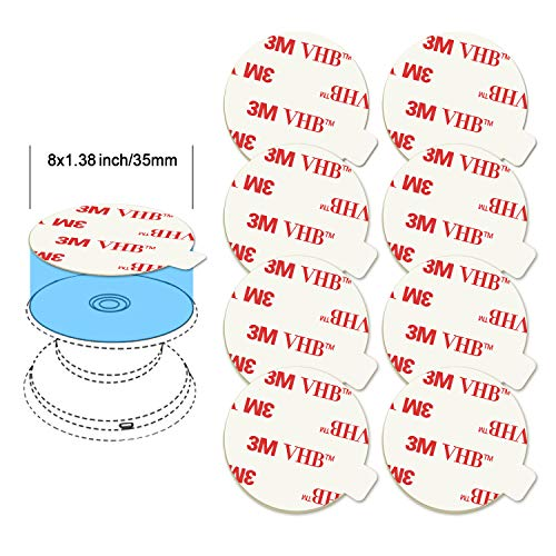 8 Pack Sticky Adhesive Replacement for Socket Stand, VOLPORT 1.4 Inch Pops 3M Circle Heat Resistant Double Sided Clear White High Bond Tape Extra Strong Removable Sticker Pad for Phone Grip Holder