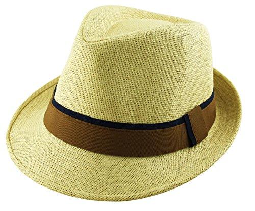Itzu Chapeau de paille en papier trilby Fedora unie 2 tons avec bande de soleil unisexe en marron, bleu, blanc, naturel - Beige - Large