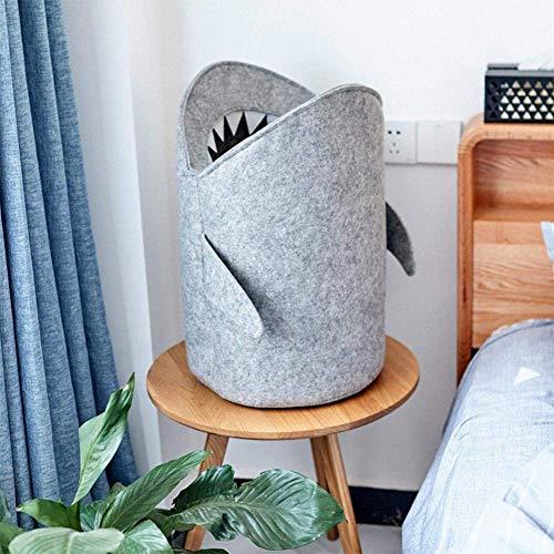 Saco de limpieza para habitación infantil, cesta de almacenamiento para juguetes, niños de fieltro, papelera y cesta de juguetes (Shark)