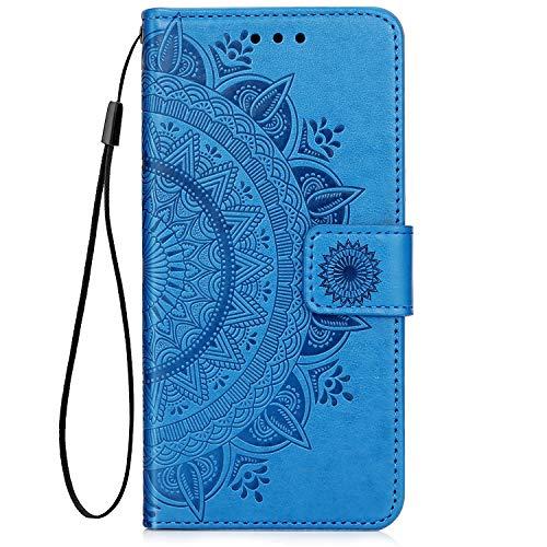 QPOLLY Kompatibel mit Samsung Galaxy A9 2018 Hülle PU Leder Tasche Brieftasche Handyhülle Totem Blumen Muster Ledertasche Flip Hülle Schutzhülle mit Ständer Kartenhalter für Galaxy A9 2018,Blau