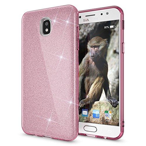 NALIA Handyhülle kompatibel mit Samsung Galaxy J7 2017 (EU-Modell), Glitzer Slim Silikon Hülle Hülle Backcover Cover TPU Schutzhülle, Glitter Sparkle Bumper Dünnes Strass Etui, Farbe:Pink