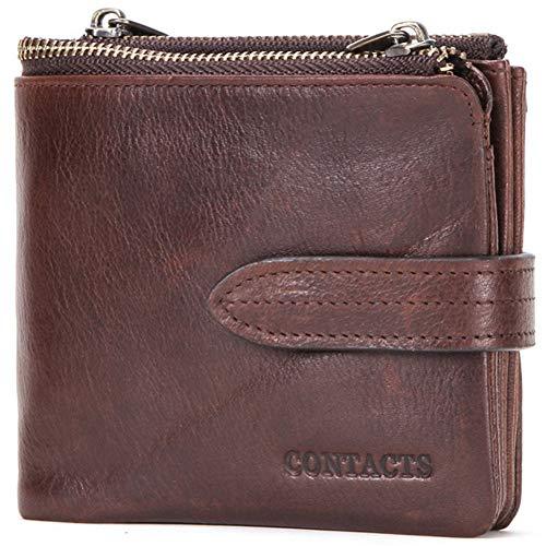 GHYDDC Portemonnee voor mannen Rfid Blocking, Vintage Crazy Horse Leather Rfid Lock Folding Wallet - Dubbele Zip Coin Purse - Geschikt voor zakelijk en dagelijks gebruik - Fijne Gift Box Verpakking Brons