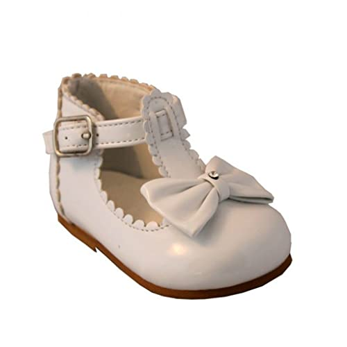 GIRLS BABY SPANISH BOW SANDALS SHINY PATENT MENORCAN STYLE WHITE PINK NEW UK