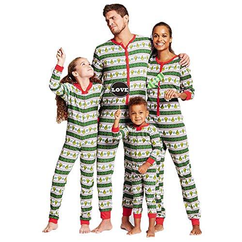 Christmas Family Matching Pajamas Set Kids Adult Geometric Xmas PJs Romper Jumpsuit Sleepwear (Toddler, 3T)