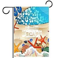 ガーデンフラグウェルカムバナーフラグヤードガーデン屋外装飾オールシーズンの垂直両面アートフラグ 夏の脱出の貝殻のスターデフフロップ