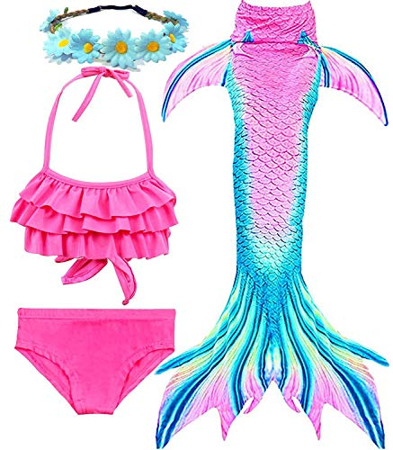 Garlagy 3 Pcs Girls Swimsuit Mermaid Tails for Swimming Bikini Set Bathing Suit Swimmable Can Add Monofin for 3-14Y (7-8/Ht:47-50in(tag 130), A-Cyan Pink Ruffled)