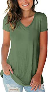 Women's Basic V Neck Short Sleeve T Shirts Summer Casual Tops