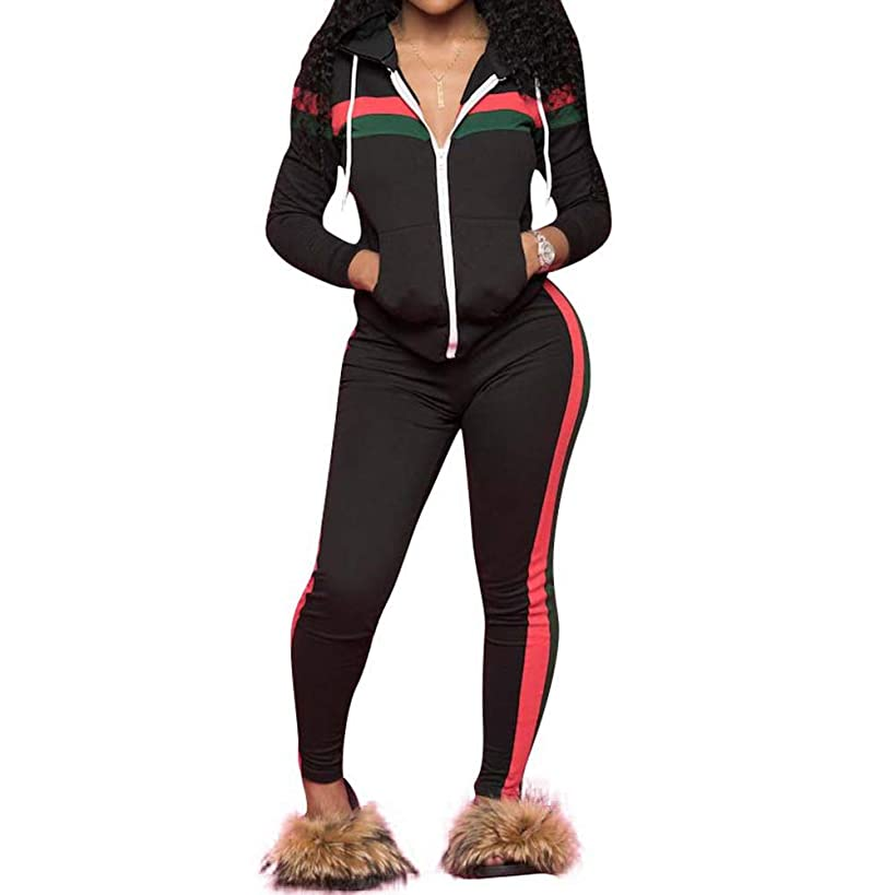 Fantasy Closet Women's 2 Piece Solid Velvet Tracksuit Set Striped Full Zip-up Hooded Sweatshirts & Pants Set