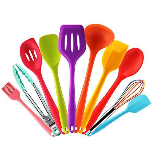 Set utensilios de cocina silicona de colores con Espátula,Cuchara,Cucharon,Espumadera,Batidor de Varillas,Pinzas Pincel de Cocina, 10 piezas Resistente al Calor