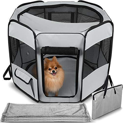 Dog Playpen with Blanket – Portable Soft Sided Mesh Indoor & Outdoor Exercise Play Pen for Pets - Gray