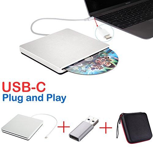 USB C Superdrive Biscon, unità esterna CD DVD USB3.0 CD DVD masterizzatore masterizzatore lettore drive per Mac/Laptop/PC/Windows10/7/8/Mac OSX con lega di alluminio Argento