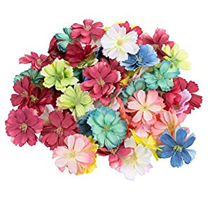 AUEAR, 50 Pack Artificial Silk Cherry Blossom Flowers Heads Fake Wholesale Peony Peony Daisy Decor for Bridal Hair Clips Headbands Dress DIY Accessories Wedding Party Decorative Colorful (Mix Color)