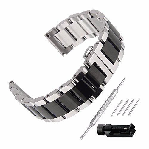 Beauty7 Unisex Acciaio Inossidabile Metallo Cinturino Orologio 16mm 18mm 20mm 21mm 22mm 23mm 24mm Nero Argento Due Toni Kit di Rimozione 00109s22