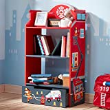 Fantasy Fields - Little Fire Fighters Themed Kids Sturdy Wooden Bookshelf with Storage , Tier Shelves Bookcase and 1 Toy Storage Drawer, Red