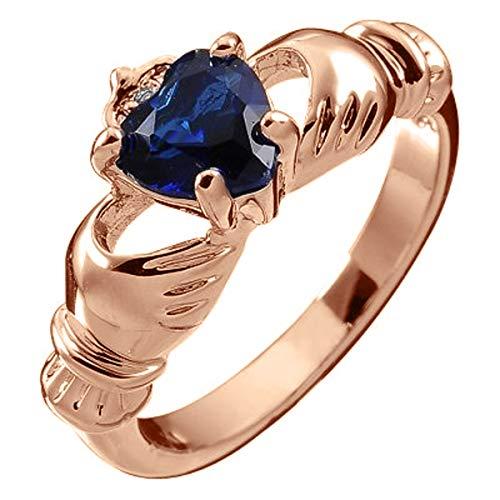 GWG Jewellery Anelli Donna Regalo Anello Placcato in Oro Rosa 18K Claddagh con Cuore in CZ Blu Zaffiro, Mani e Corona - 9 per Donne