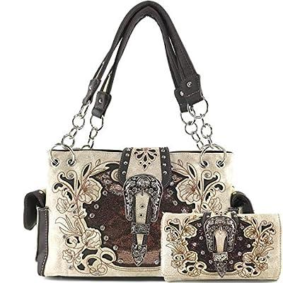 Zelris Western Floral Blossom Buckle Women Conceal Carry Handbag Wallet Set (Beige/Brown)