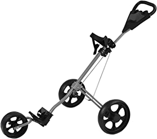 Landscap Foldable 3 Wheel Golf Pull Push Cart Trolley Scorecard Drink Holder Folding Lightweight Golf Cart