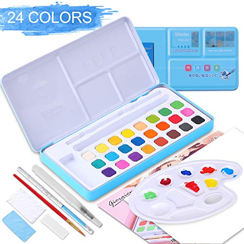 Herefun Aquarellfarben Wasserfarben Set , 24 Lebendigen Farben, 8 Aquarellpapier, Wassertankpinsel, Mischplatte, Schwamm, Bleistift, Zeichenstift, Handtuch, Stoff, Kleines Handtuch