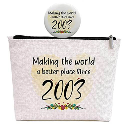18th Birthday Gifts for Women, Sweet 18 Years Old Gift for Daughter Girl Friend Sister Niece Granddaughter, Making The World A Better Place Since 2003, Makeup Bag