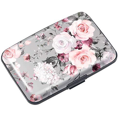 Mini Credit Card Holder for Women,RFID Blocking Slim Hard Card Case ID Case Travel Wallet,Grey Flowers