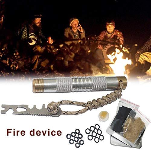 AITOCO Dispositivo de Encendido del Dispositivo de Encendido del pistón de Arranque del Fuego para la Supervivencia de la Acampada al Aire Libre (Plata)