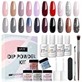 20 Colors Dip Powder Nail Kit Starter Acrylic Dipping Powder System Essential Kit for French Nail Manicure Nail Art Set with Base Top Activator Coat
