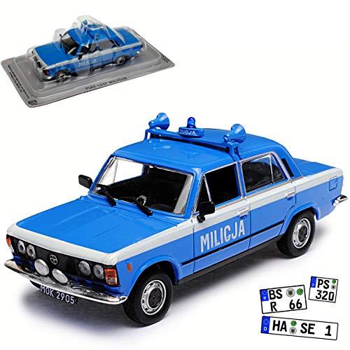 Unbekannt FIAT Polski 125P Milicja Polizei Limousine Blau Baugleich FSO 125P 1967-1991 1/43 Modellcarsonline Modell Auto