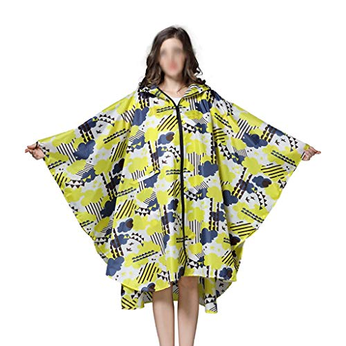 YUTRD ZCJUX Trench Coat Style con Capucha Mujeres Impermeable Al Aire Libre Lluvia Lluvia Poncho Abrigo Impermeable Abrigo Abrigo Amarillo Flor Ropa de Lluvia