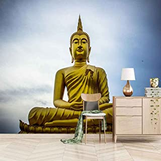 VITICP Adults Kids Wall Stickers Decals Peel and Stick Removable Wallpaper Golden Buddha Statue for Nursery Bedroom Living...