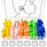 BITEFU 40 tappi per le orecchie in silicone impermeabili per nuotatori, protezione dell'udito per gli aeroplani e dormire, con scatola portatile (5 colori 20 paia)
