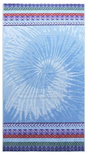 Lashuma Toalla de baño Mallorca de terciopelo, toalla de playa, color azul, tamaño grande, 100 x 180 cm