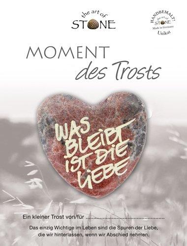 The Art of Stone Momente des Trosts Marmorsteinherz mit dem Text - was bleibt ist Liebe Unikat - von Hand beschriftet - Trauerbegleiter Trostspender und Grabbeigabe