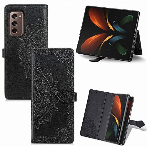 TingYR Hülle für Samsung Galaxy Z Fold 2 5G Schutzhülle, Handyhüllen Flip Hülle Wallet Stylish mit Standfunktion & Magnetisch PU Tasche Schutzhülle.(Schwarz)