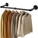 Greenstell Industrial Pipe Clothes Rack Wall Mounted,Space-Saving Iron Garment Rack Multi-Purpose,Detachable Rustic Hanging Shelves Black 2 Base