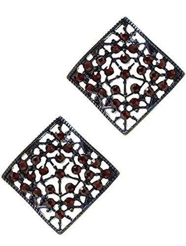beyoutifulthings 1 par de pendientes para mujer de acero inoxidable, cobre, contorno cuadrado con patrón de red cubierto con piedras de cristal rojo, longitud 2,5 cm