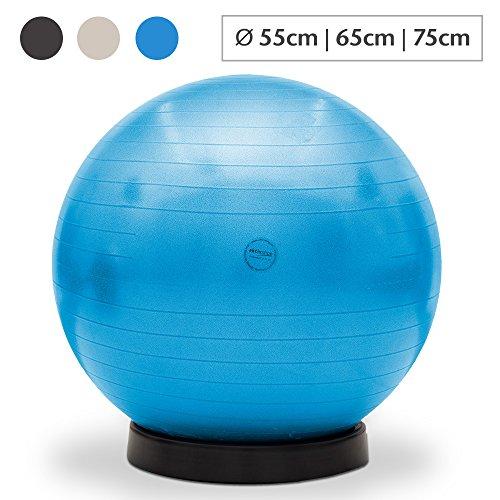 maxVitalis Gymnastikball inkl. Ballschale Fitnessball Sitzball Fitness Ball Yogaball Sportball Anti-Burst Gymnastikball Büroball 65 cm Blau