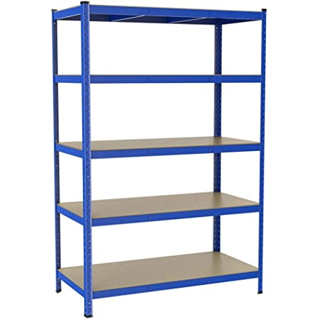 Yaheetech 180 x 120 x 60 cm Étagères Charge Lourde Clipsable Résistant Capacité 875 kg Meuble de Rangement Garage Cuisine Chambre Bleu