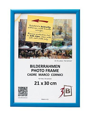 3-B Bilderrahmen ULM 21x30 cm - hell blau - Holzrahmen, Fotorahmen, Portraitrahmen mit Plexiglas