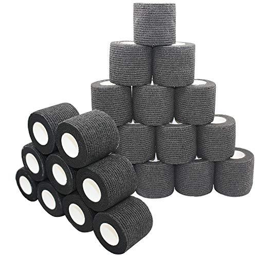 nilo - bende adesive - 24 rotoli 5 cm x 4,5 m, benda autoadesiva ed elastica (nero)