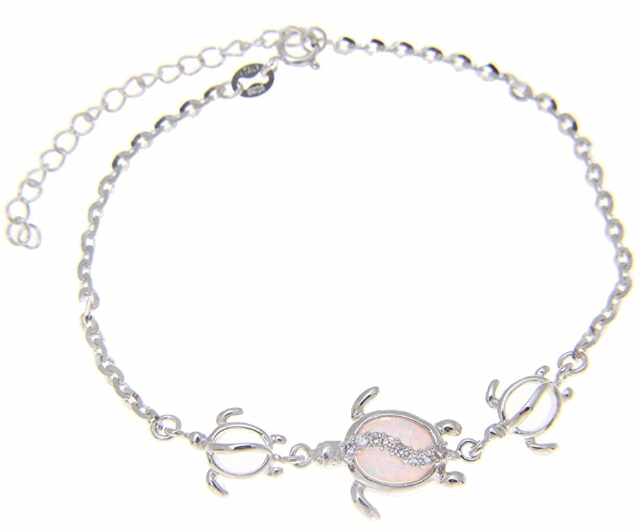 925 sterling silver Hawaiian honu turtle cz white synthetic opal link chain anklet 9