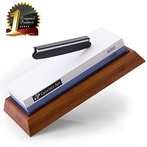 Villini Whetstone Knife Sharpener - Knife Sharpening Stone - Waterstone 1000-6000 Grit with Non-Slip Bamboo Base and Angle Guide - Best Wet Stone Kitchen Knives Sharpening Kit