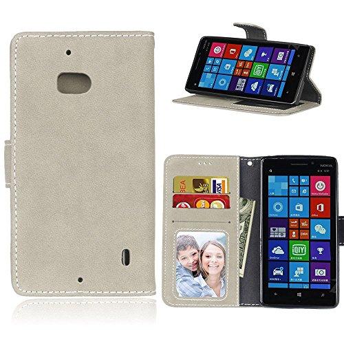 pinlu® Hohe Qualität Retro Scrub PU Leder Etui Schutzhülle Für Microsoft Lumia 930 Lederhülle Flip Cover Brieftasche Mit Stand Function Innenschlitzen Design Grau