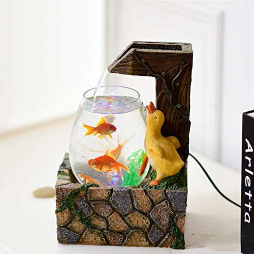 YIFEI2013-SHOP Indoor Water Fountain Desktop Fountain and Small Fish Tank Automatic Circulation Fountain Living Room Home Office Zen Fountain Decoration, Resin Decorative Fountain (Color : A)
