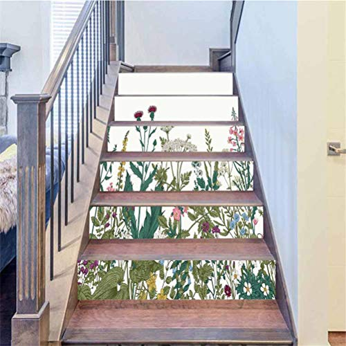 3D Stair Stickers Vinyl Self-Adhesive Staircase Wall Mural Wallpaper, Vector Seamless Floral Border Herbs and, Stair Treads Decals Removable Staircase murals Decorative, W39.3 x H7.08 Inch 6PCS/Set